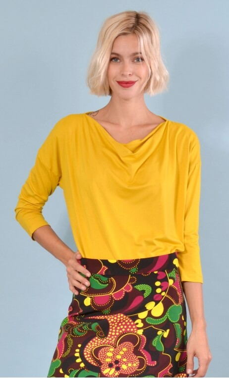 Top Brahms Basic mustard yellow color, Plain, fluid, cowl neck, loose armhole, 3/4 sleeves.