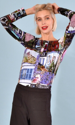 Top Le Sphinx Cottage Indiscrétions, Printed jersey top, boat neckline, trapeze, long sleeves.