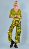 Trousers Gabin Boutons d'Or Buttercups print, Wide and slightly short, stretch, flat profile, side zip, back and front patch poc