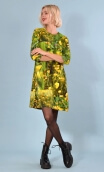 Robe Jess Boutons d'Or, Printed stretch dress, trapeze skirt, above the knee, 3/4 sleeve.