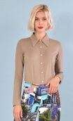 Chemise Abbey Road Basiques Raffinés Kaki, Plain jersey shirt, fitted, pointed collar, long sleeve with wrist. Seventies