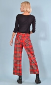 Pantalon Fred Tartans, Black trousers wide and a little short, stretch, high waist, flat profile, zip side, patch pockets back