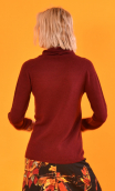 Pull Le Faucon Wool & Silk Bordeaux, fine turtleneck sweater, small hip length, Italian merino / cashmere and silk knit
