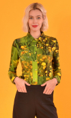 Chemise Abbey Road buttercup, Printed jersey shirt, fitted, pointed collar, long sleeve with wrist. Seventies.