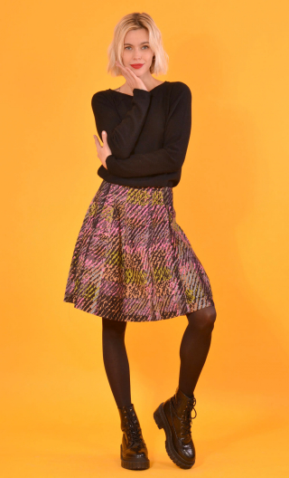 Skirt Miss Lala Bourrasques, printed velvet skirt, corolla, knee length, beautiful topstitching,