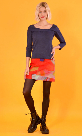 Top Pénélope Pops Rosace marine, Jacquard knit top, glamorous, fitted, draped neckline front, manches sleeves, sixties.
