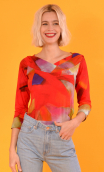 Top Pénélope Fragments, Printed jersey top, glamorous, fitted, draped neckline front, manches sleeves, sixties.