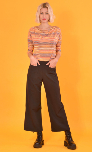 Top Brahms Pops Nuts mandarine , Striped jersey top, fluid, cowl neck, loose armhole, ¾ sleeves.