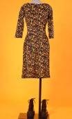 Robe Cahiers du Cinéma Fox Trot, Printed knit dress, fitted waist, knee length, 3/4 sleeves