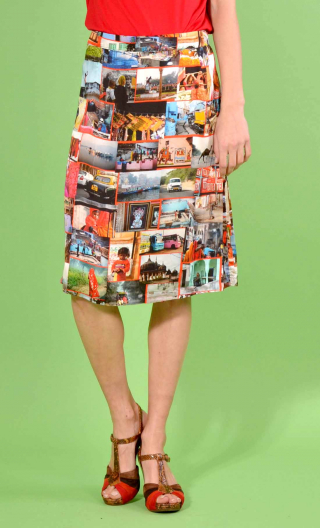 Skirt Naia Incredible India in printed viscose, slightly A-line, knee length