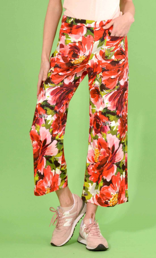 Pantalon Gus Pivoines rouge, printed trousers, wide and a little short, stretch, flat profile, zip side, patch pockets bac
