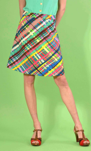 Skirt Mirabelle in Glorious Pop print, trapeze, just above the knee, zipped back.