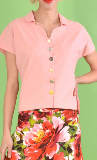 Top School One Piqué rose, pink, small collar, short, kimono sleeve, loose bust, silver hammered buttons