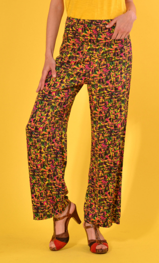 Pantalon Gustave Formica, trousers wide and a little short, high waist, flat profile, side zip, patch pockets back