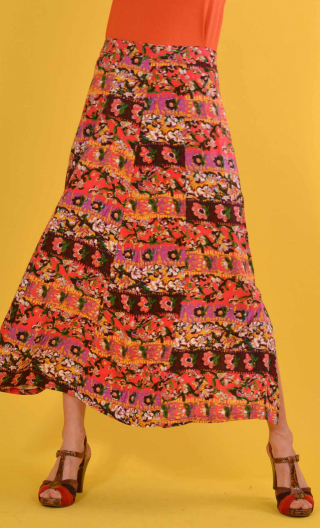 Jupe Formentera Bayadère rouge, Printed viscose skirt, very long and loose