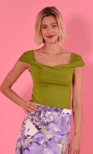 Top Nijinski. Basiques Raffinés Mousse ,Glamorous sleeveless top, fitted, with plunging boa