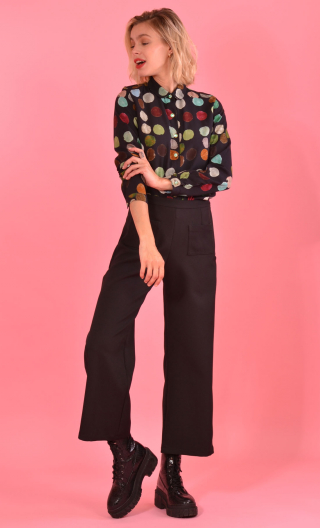 Shirt Elle lisait Sophocle Balles Trap, printed long sleeves shirt with cuffs, fluid, mini rounded collar.