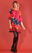 Robe Jess Printed Diabolique, stretch dress, trapeze skirt, above the knee, 3/4 sleeve.