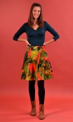 Skirt Miss Lala Coquelicots, printed velvet skirt, corolla, knee length, beautiful topstitching, does not enlarge my figure
